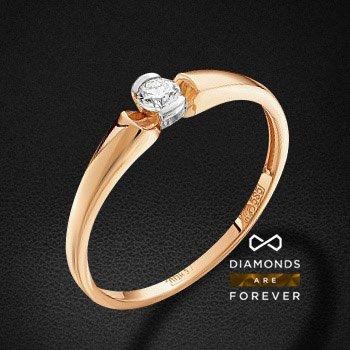 Кольцо с бриллиантами из красного золота 585 пробыКольца<br>Кольцо с бриллиантами из красного золота 585 пробы. Характеристики вставок: 1 бриллиант кр 57 10-7 3/6а 3.0 0.104ct.. Средний вес изделия: 1.48 гр.<br>