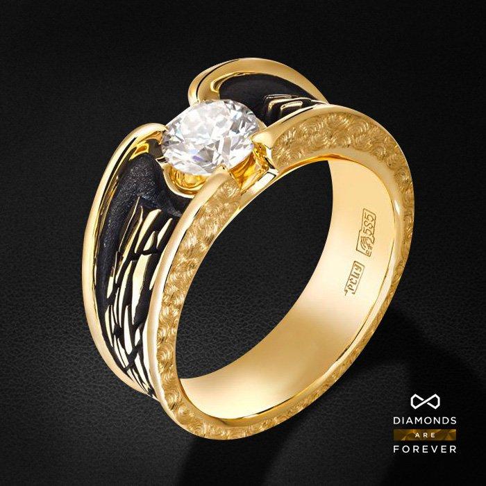 Мужское кольцо с бриллиантами из желтого золота 585 пробыДля мужчин<br>Мужское кольцо с бриллиантами из желтого золота 585 пробы. Характеристики вставок: 1 бриллиант 0,7. Средний вес изделия: 7.57 гр.<br>