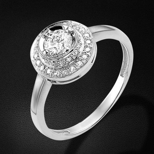 Кольцо с бриллиантами из белого золота 585 пробыКольца<br>Кольцо с бриллиантами из белого золота 585 пробы. Характеристики вставок: 1 бриллиант кр57 0,348 2/5а, 34 бриллиант кр17 0,124 2/2а. Средний вес изделия: 2,28 гр.<br>