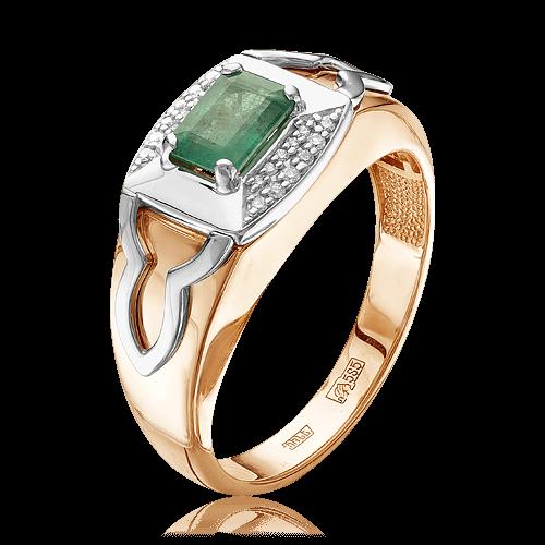 b44255d615f1 Кольцо с изумрудами, бриллиантами из комбинированного золота 585 пробы (арт.  49085)