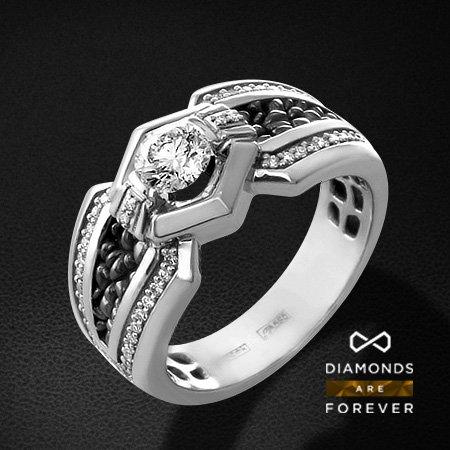 Мужское кольцо с бриллиантами из белого золота 585 пробыПерстни<br>Мужское кольцо с бриллиантами из белого золота 585 пробы. Характеристики вставок: 1 бриллиант кр57 0.77; 52 бриллиант кр57 0.33. Средний вес изделия: 4.03 гр.<br>