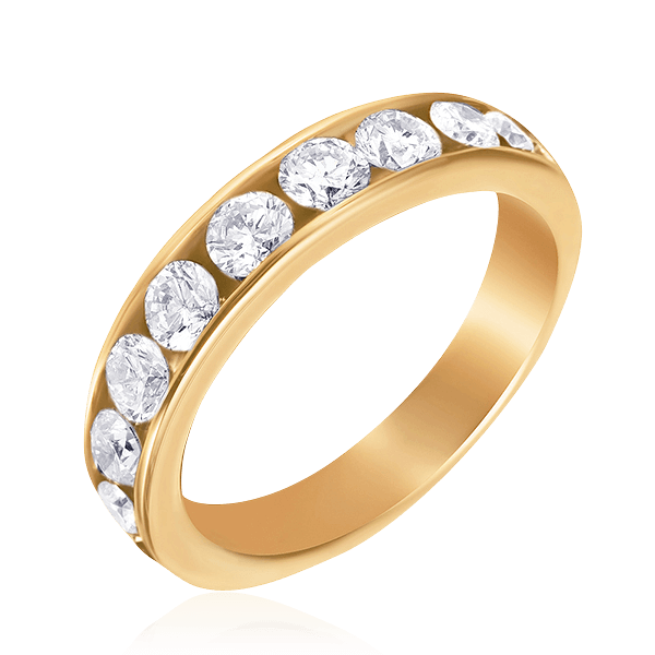 Купить Кольцо дорожка с 10 бриллиантами из желтого золота 585 пробы