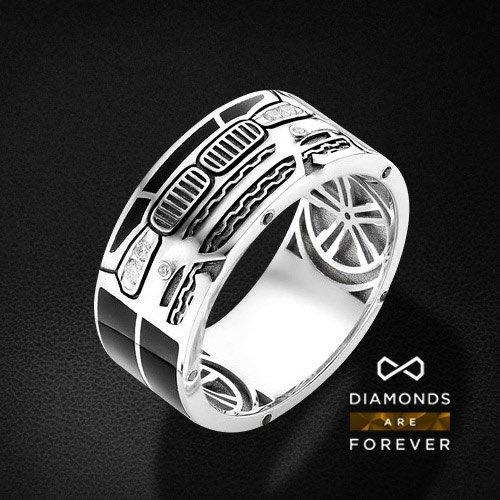 Купить со скидкой Мужское кольцо bmw с бриллиантами из белого золота 585 пробы
