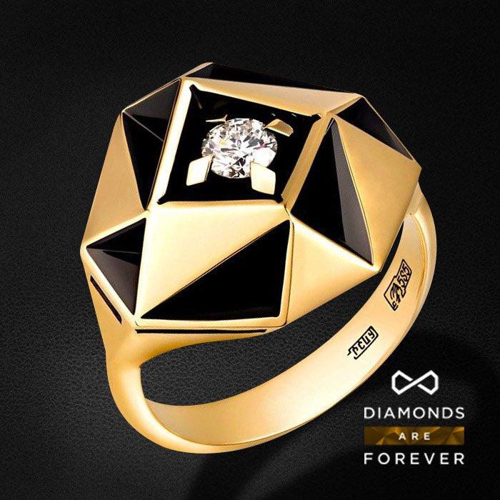 Кольцо с бриллиантами в желтом золотеКольца с бриллиантами<br>Кольцо с бриллиантами в желтом золоте 585 пробы. Характеристики: 1 бриллиант 0.27. Средний вес: 9.38 гр.<br>