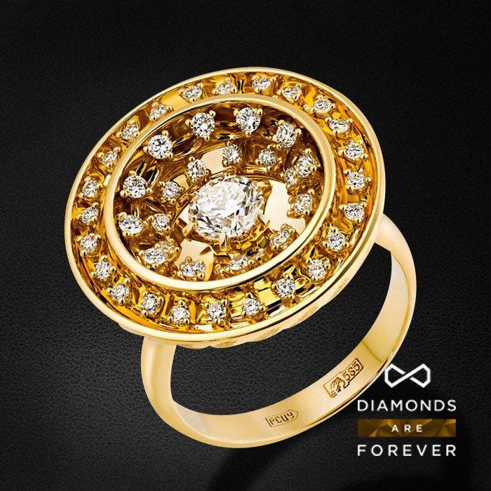 Кольцо с бриллиантами в желтом золотеКольца с бриллиантами<br>Кольцо с бриллиантами в желтом золоте 585 пробы. Характеристики: 49 бриллиант 0.983. Средний вес: 14.63 гр.<br>