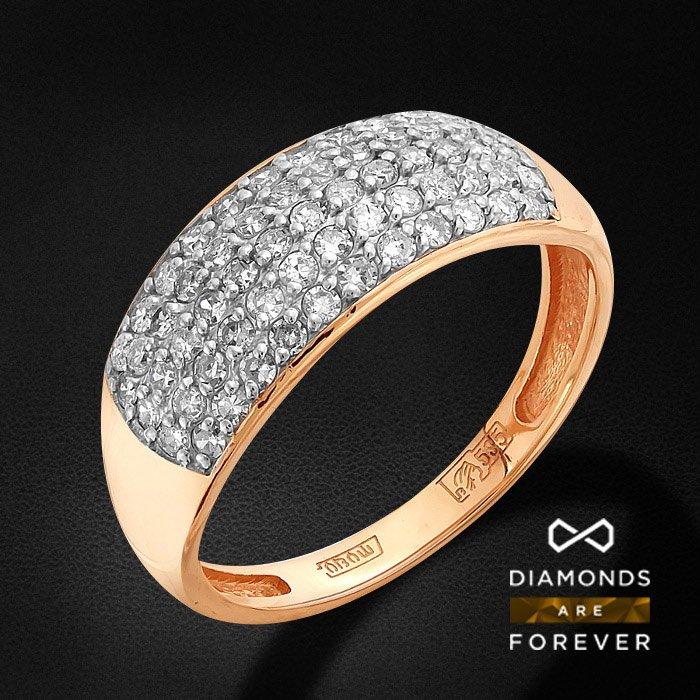 Кольцо с бриллиантами из красного золота 585 пробыКольца<br>Кольцо с бриллиантами из красного золота 585 пробы. Характеристики вставок: 54 бриллиант кр 17 2/3а 0.389ct., 7 бриллиант кр 17 2/3а 0.058ct.. Средний вес изделия: 2.35 гр.<br>