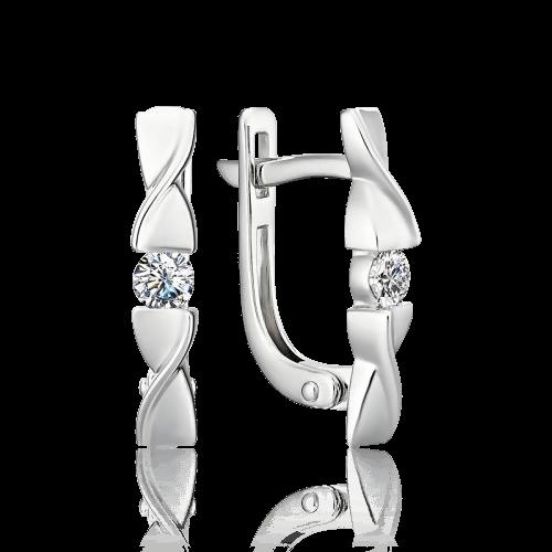 Серьги с бриллиантами из белого золота 585 пробыСерьги<br>Серьги с бриллиантами из белого золота 585 пробы. Характеристики вставок: бриллиант кр57 2 шт. 0,234 ct 4/5а. Средний вес изделия: 2,66 гр.<br>