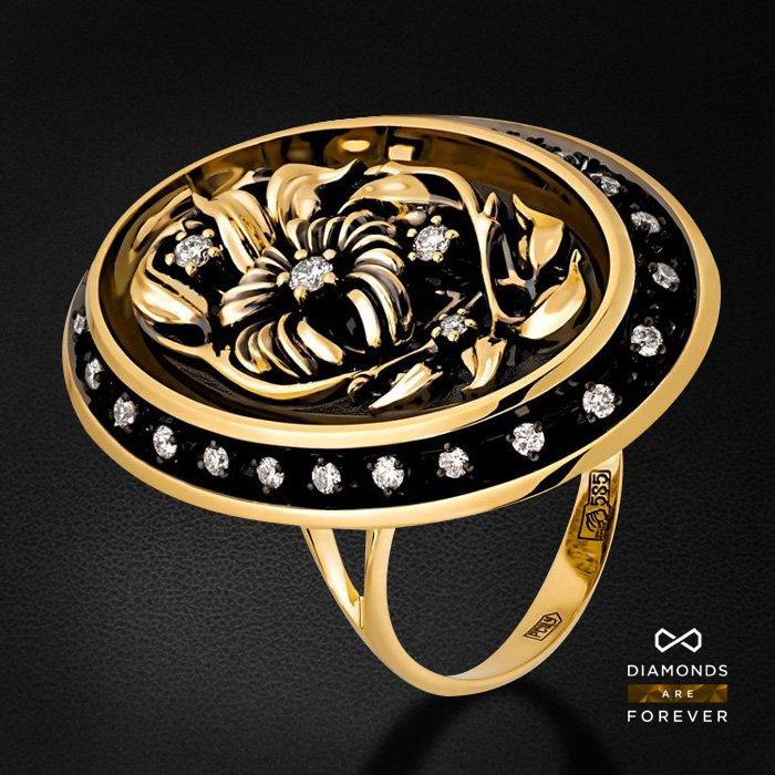 Кольцо с бриллиантами из желтого золота 585 пробыКольца<br>Кольцо с бриллиантами из желтого золота 585 пробы. Характеристики вставок: 31 бриллиант 0,299. Средний вес изделия: 9.4 гр.<br>