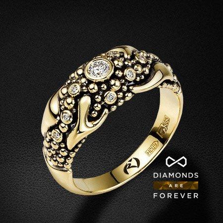 Кольцо из желтого золота 585 пробы с 10 бриллиантамиКольца<br>Кольцо золотое с 10 бриллиантами. Характеристики вставок: 10 брил. весом 0.16 ct. Средний вес: 6.85 гр.<br>