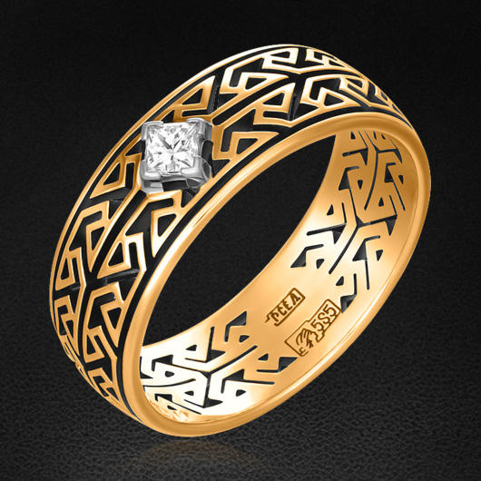 Кольцо с бриллиантами из красного золота 585 пробыКольца<br>Кольцо с бриллиантами из красного золота 585 пробы. Характеристики вставок: 1 бриллиант огранки принцесса (п65) 0,10 3/3. Средний вес изделия: 3,52 гр.<br>