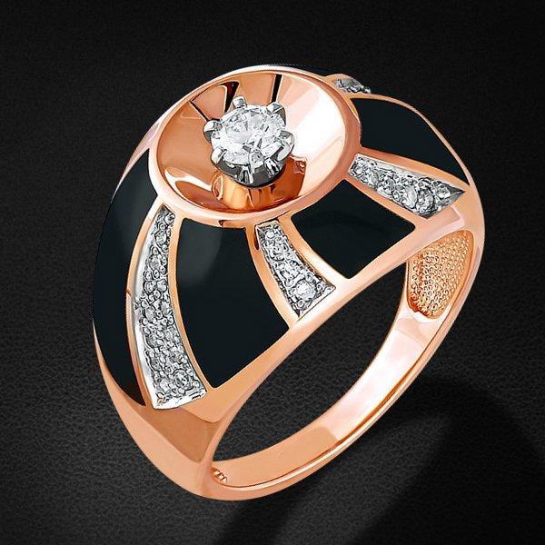 Кольцо с бриллиантами из красного золота 585 пробыКольца<br>Кольцо с бриллиантами из красного золота 585 пробы. Характеристики вставок: 1 бриллиант кр57 0,214 3/5а; 8 бриллиант кр17 0,068 3/3а; 28 бриллиант кр17 0,102 3/3а. Средний вес изделия: 7,58 гр.<br>