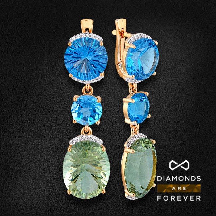 Купить Длинные серьги с топазом, бриллиантами, празиолитом из комбинированного золота 585 пробы