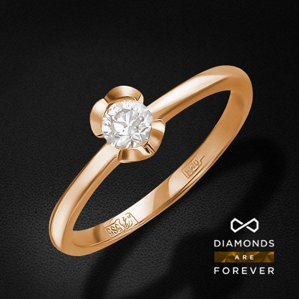 Кольцо с бриллиантами из красного золота 585 пробыКольца<br>Кольцо с бриллиантами из красного золота 585 пробы. Характеристики вставок: бриллиант кр-57 4/7 1шт.,0.09ct. Средний вес изделия: 2,06 гр.<br>