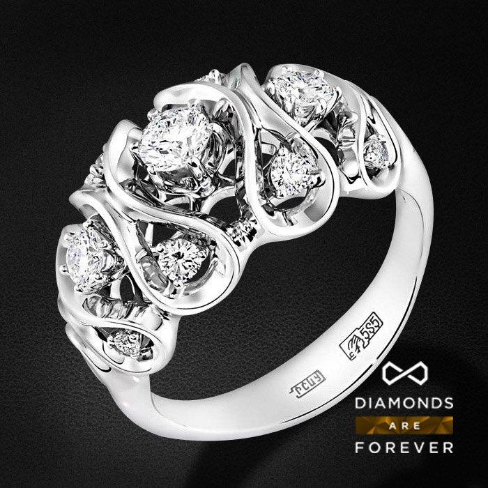 Кольцо с бриллиантами в белом золотеКольца с бриллиантами<br>Кольцо с бриллиантами в белом золоте 585 пробы. Характеристики: 11 бриллиант 0.732. Средний вес: 5.54 гр.<br>