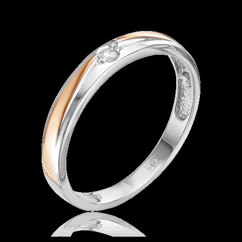 Купить Обручальное кольцо с бриллиантами из белого и красного золота 585 пробы