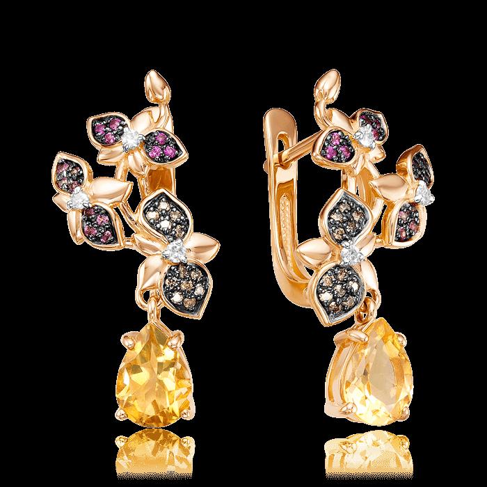 Купить Серьги с цитрином, бриллиантами, рубином, родолитом из красного золота 585 пробы