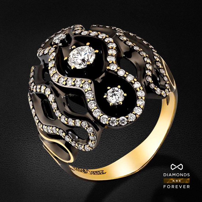 Кольцо с бриллиантами из желтого золота 585 пробыКольца<br>Кольцо с бриллиантами из желтого золота 585 пробы. Характеристики вставок: 124 бриллиант 1,047. Средний вес изделия: 9.76 гр.<br>