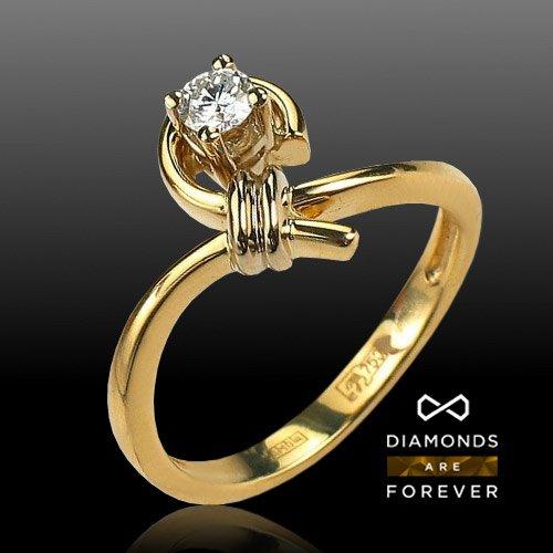 Кольцо с бриллиантами из комбинированного золота 750 пробыЮвелирные украшения<br>Кольцо с бриллиантами из комбинированного золота 750 пробы. Характеристики вставок: бриллиант 5/4 1шт.,0.18ct. Средний вес изделия: 4,69 гр.<br>