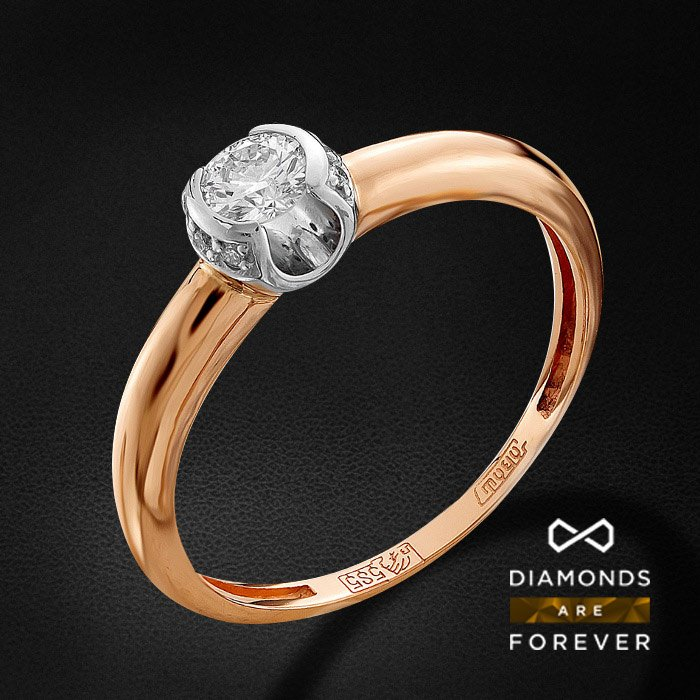 Кольцо с бриллиантами из красного золота 585 пробыКольца<br>Кольцо с бриллиантами из красного золота 585 пробы. Характеристики вставок: 1 бриллиант кр 57 3/6а 0.21ct., 6 бриллиант кр 57 4/5а 0.025ct.. Средний вес изделия: 2 гр.<br>