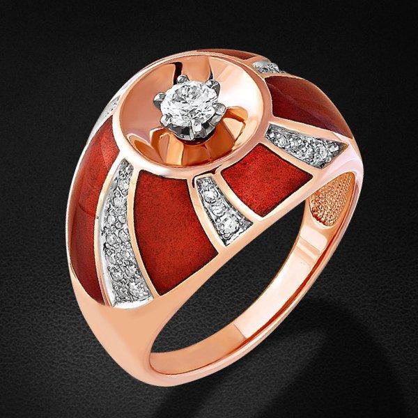 Кольцо с бриллиантами из красного золота 585 пробыКольца<br>Кольцо с бриллиантами из красного золота 585 пробы. Характеристики вставок: 1 бриллиант кр57 0,217 3/5а; 8 бриллиант кр17 0,061 2/4а; 28 бриллиант кр17 0,103 3/3а. Средний вес изделия: 7,98 гр.<br>