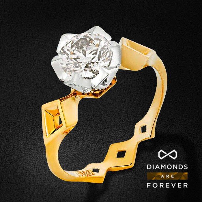 Кольцо с бриллиантами в комбинированном золотеКольца с бриллиантами<br>Кольцо для помолвки с бриллиантами в комбинированном золоте 585 пробы. Характеристики: 1 бриллиант 1.01. Средний вес: 3.37 гр.<br>