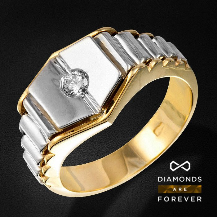 Мужское кольцо с бриллиантами из комбинированного золота 585 пробыДля мужчин<br>Мужское кольцо с бриллиантами из комбинированного золота 585 пробы. Характеристики вставок: 1Бр Кр-57 0.21 3/3 А. Средний вес: 11,87 гр.<br>