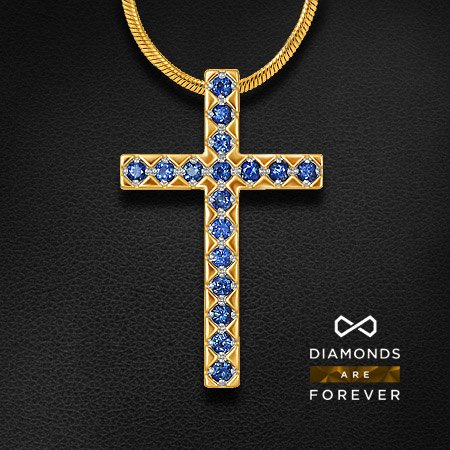 Купить Крестик с сапфиром из красного золота 585 пробы